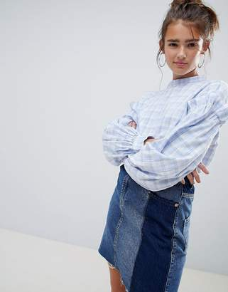 Daisy Street Check Blouse with Balloon Sleeves