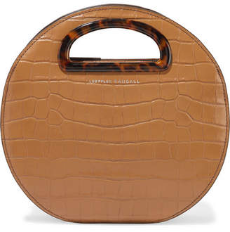 Loeffler Randall Indy Circle Croc-effect Leather Tote - Tan