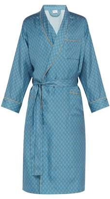 All At Sea - Anchor Print Silk Satin Robe - Mens - Blue