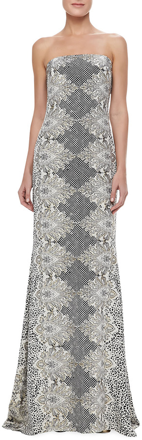 Nicole Miller Strapless Animal-Print Gown
