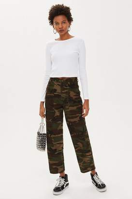 Topshop Corduroy Camouflage Trousers