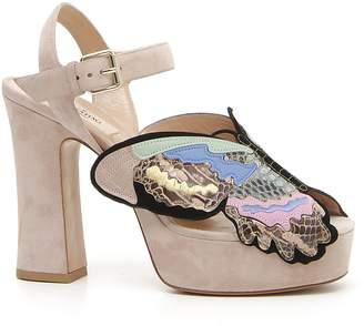 Valentino Butterfly Genuine Snakeskin Platform Sandal