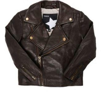 Molo Kids Men's Grained Leather Jacket-BROWN $325 thestylecure.com