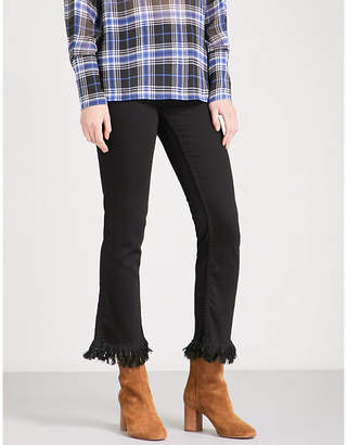 Maje Panako frayed-hem skinny high-rise jeans