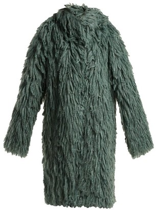 Bottega Veneta Shaggy Oversized Coat - Womens - Mid Green
