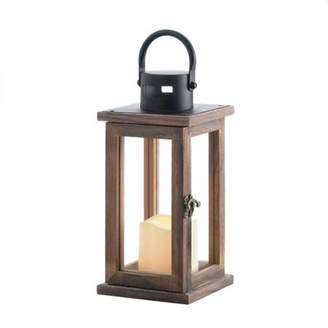 Gallery of Light LODGE WOODEN LANTERN WITH LED CANDLE