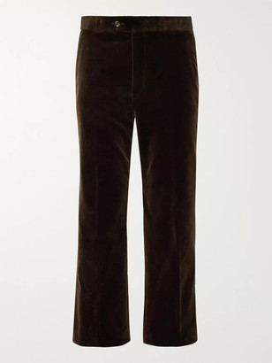 Gucci Wide-Leg Cropped Cotton-Velvet Trousers
