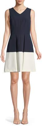 Milly Jan V-Neck Colorblock Mini Dress