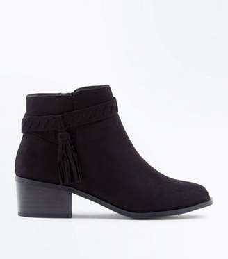 New Look Teens Black Suedette Tassel Ankle Boots
