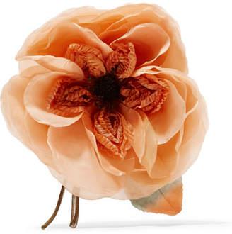 Floral Silk Brooch - Orange
