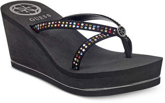 GUESS Women's Selya Platform Wedge` Sandals Women's Shoes
