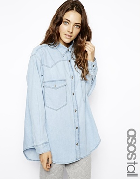 ASOS TALL Oversized Denim Boyfriend Shirt In Light Wash