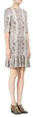 Chloé Python Jacquard Print Knit Flounce Dress