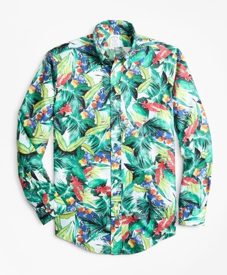 Brooks Brothers Regent Fit Supima Bold Tropical Print Sport Shirt
