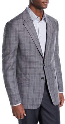 Giorgio Armani Men's Flannel Plaid Two-Button Jacket