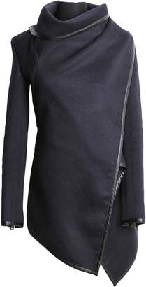 Caflin Women's Plus Size Wool-Blend Irregular Trench Coat with Zip L
