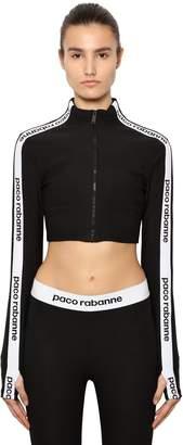 Paco Rabanne Logo Band Jersey Cropped Sweatshirt