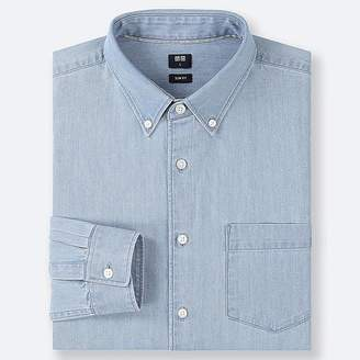 Uniqlo Men's Denim Slim-fit Long-sleeve Shirt