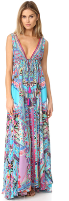 Camilla Festival Friends Long V Neck Drawstring Dress $800 thestylecure.com