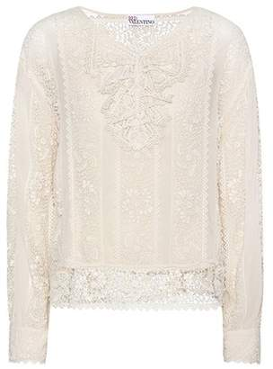 RED Valentino Lace trimmed blouse