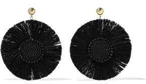 Kenneth Jay Lane Gold-Tone Beaded Fringed Earrings