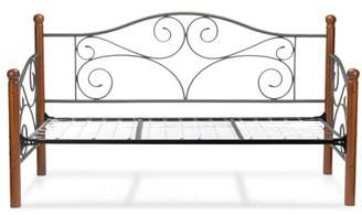 Leggett & Platt Doral Complete Metal Daybed with Scrolled Spindle Panels and Link Spring, Matte Black Finish, Twin