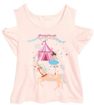 Truly Me Circus Graphic Cold Shoulder Tee
