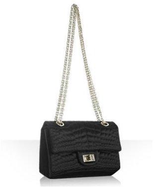 Chanel black quilted crepe flap shoulder bag