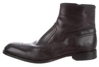 Christian Dior Leather Semi Point-Toe Ankle Boots