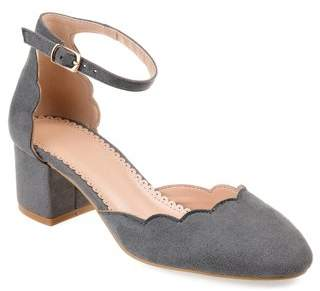 Co Brinley Womens Faux Suede Ankle Strap Scalloped Pumps