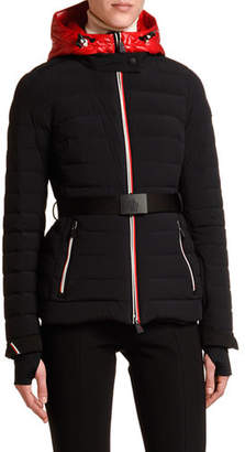 Moncler Channel-Quilt Tricolor-Zip Jacket w/ Belt