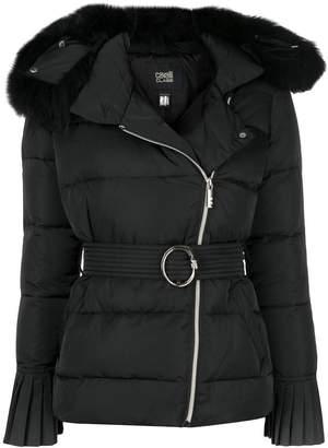 Class Roberto Cavalli fur trim padded jacket