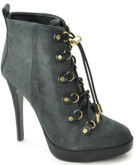 Tory Burch - Halima - Black Suede Lace Up Bootie
