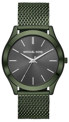 Michael Kors Slim Runway Olive IP Stainless Steel Mesh Bracelet Watch