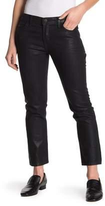 Current\u002FElliott The Cropped Black Coated Straight Leg Jeans
