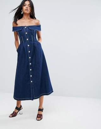To Be Adored Danya Off Shoulder Buttoned Denim A Line Dress