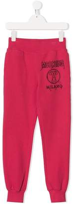 Moschino Kids logo embroidered track pants