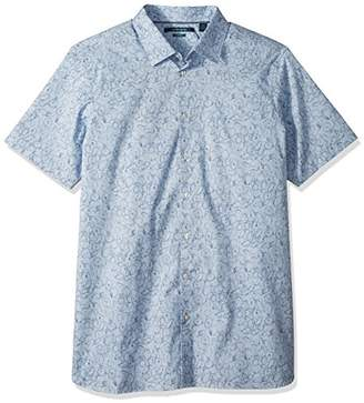 Perry Ellis Men's Big and Tall Short Sleeve Stenciled Leaf Shirt