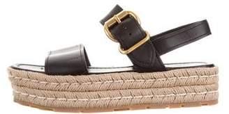 Prada Leather Platform Espadrille Sandals