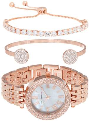 Mother of Pearl Isaac Mizrahi Live! 3-Piece Mother-of-Pearl Watch Set with Cuff & Bracelet
