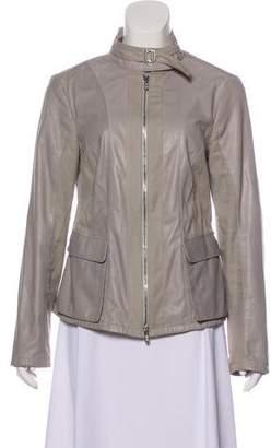 Armani Collezioni Leather Zip-Up Jacket