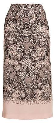 Valentino Women's Lace Print Silk Skirt