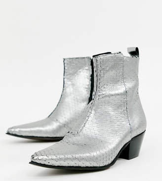 Asos DESIGN Wide Fit stacked heel western chelsea boots in silver leather