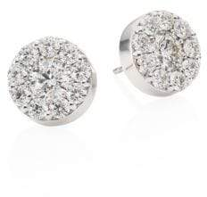 Hearts On Fire Diamond& 18K White Gold Button Stud Earrings