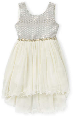 Princess Girls American Princess (Girls 4-6x) Brocade Asymmetrical Tulle A-Line Dress