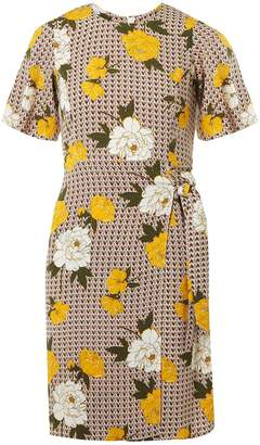 Dorothy Perkins Womens Petite Multicoloured Floral Print Tie Side Dress