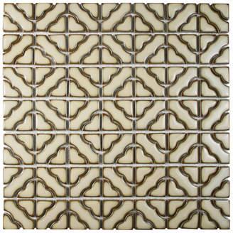 BEIGE EliteTile SAMPLE - Jericho Random Porcelain Mosaic Floor and Wall Tile in