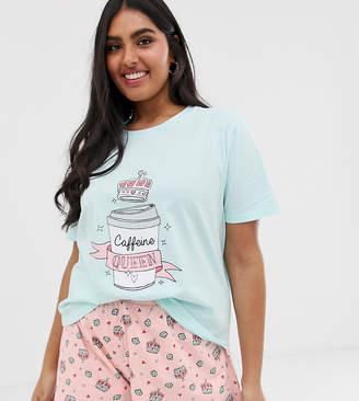Asos DESIGN Curve caffeine pyjama short set