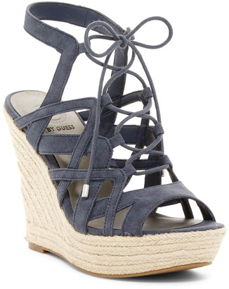 G by GUESS Dritta Lace-Up Platform Wedge Sandal $69 thestylecure.com