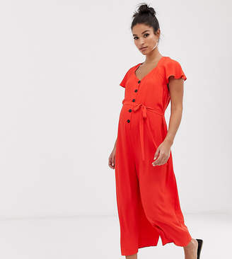 20ed8d61bb8e8 Asos DESIGN Maternity button front frill sleeve jumpsuit with cut out back